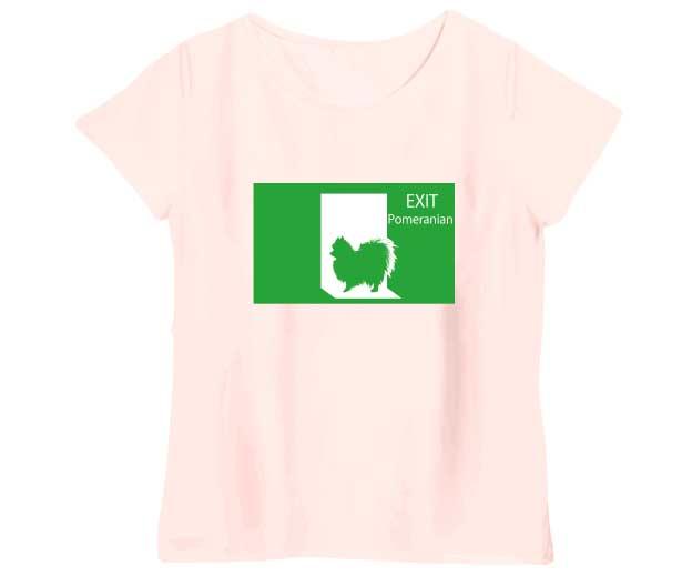 非常口ポメラニアンレディースTシャツ シャーベットピンク