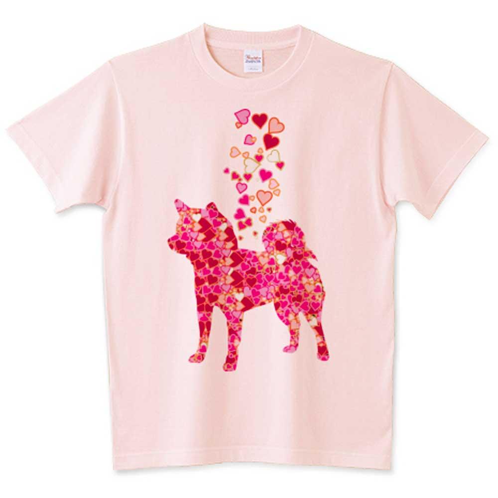 ハートのふりかけ柴犬Tシャツ