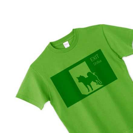 柴犬非常口Tシャツグリーン