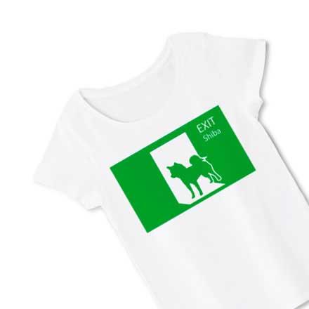 柴犬非常口シルエットレディースTシャツ