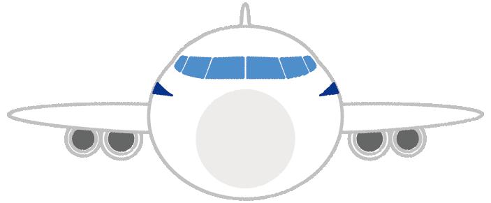 可愛い飛行機のイラスト(正面)