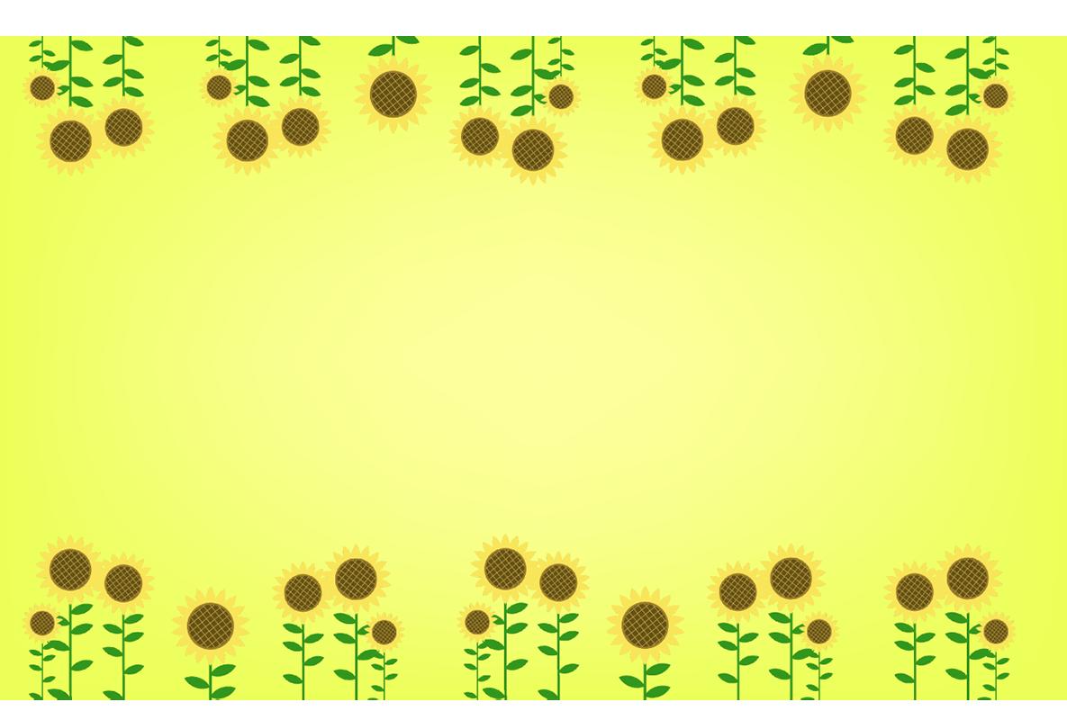 ひまわりの四角フレーム(背景あり1185×800)