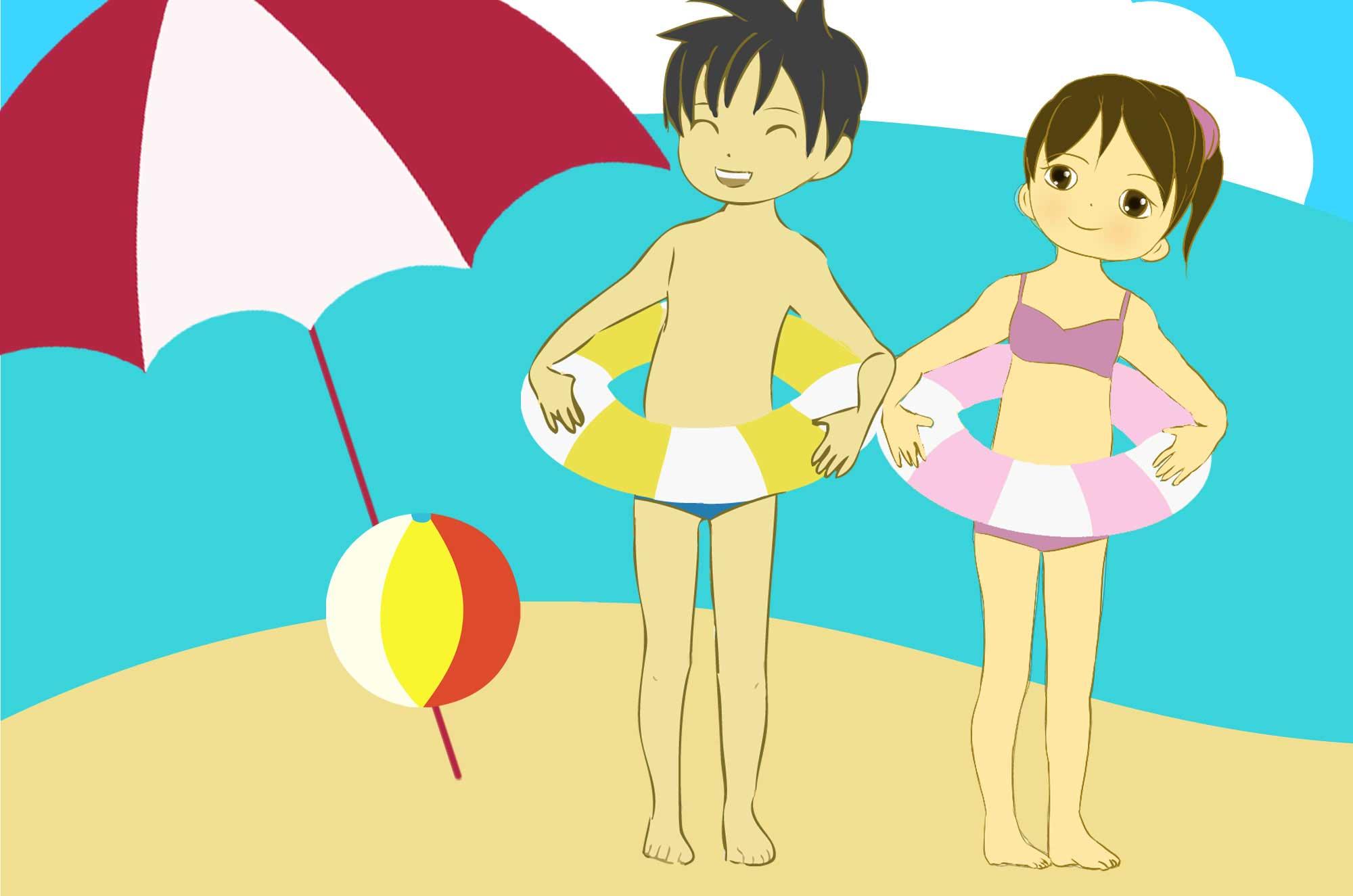 海水浴イラスト - 浮き輪・ビーチボール子供の無料素材