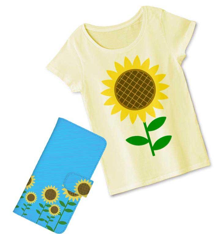 ひまわりのイラストを使った可愛い雑貨とTシャツ