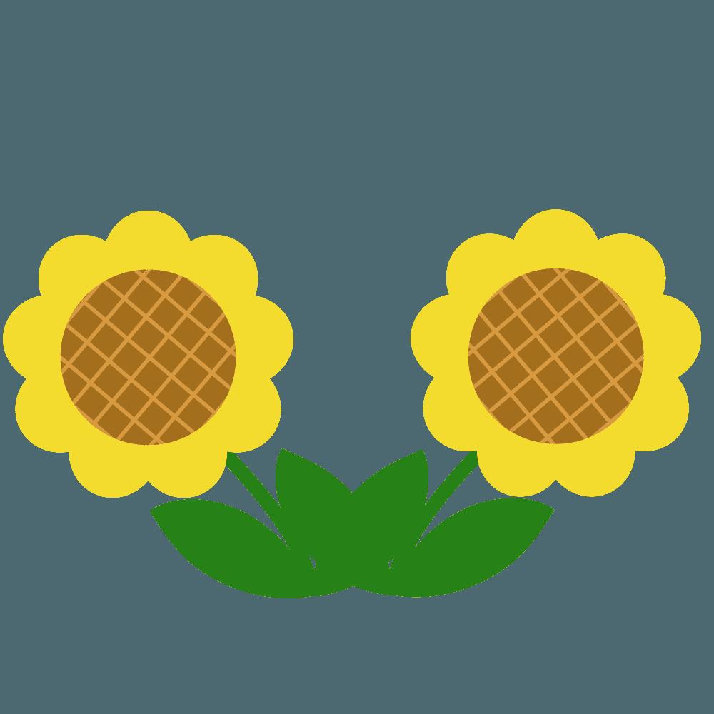 2つのミニ向日葵イラスト