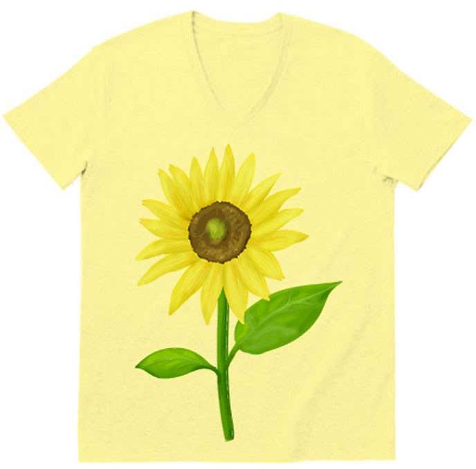 ひまわりv字ネックTシャツ