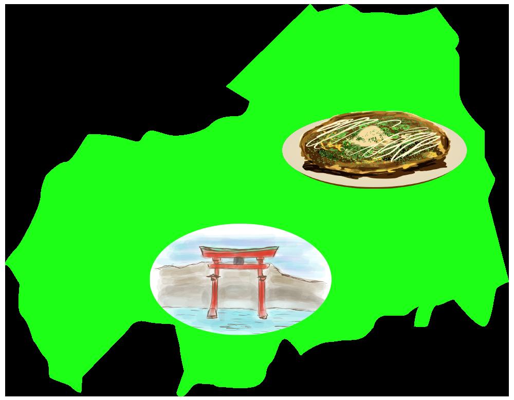 広島の名産・名物と大陸のイラスト