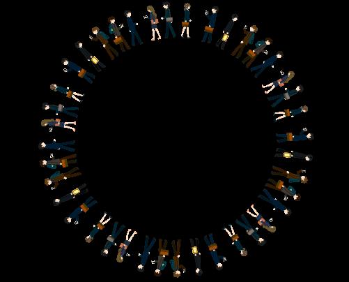 円の人混みラインのイラスト