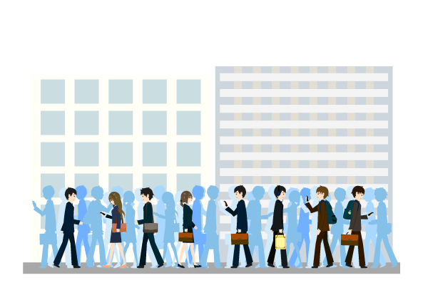 混み合うビジネス街のイラスト