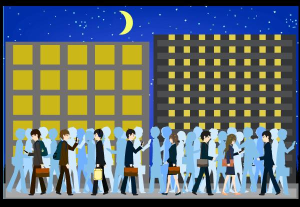 混み合う夜の都会のイラスト