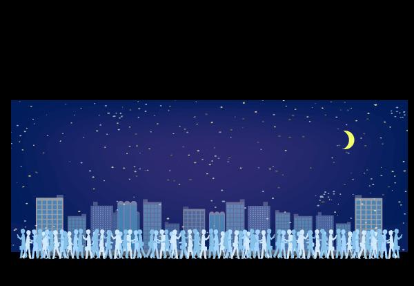 混み合う夜の街イラスト