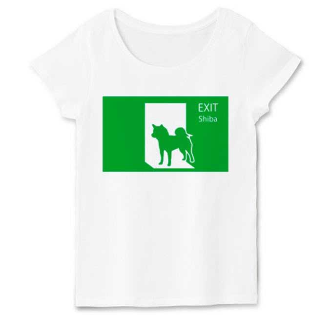柴犬と非常口Tシャツ