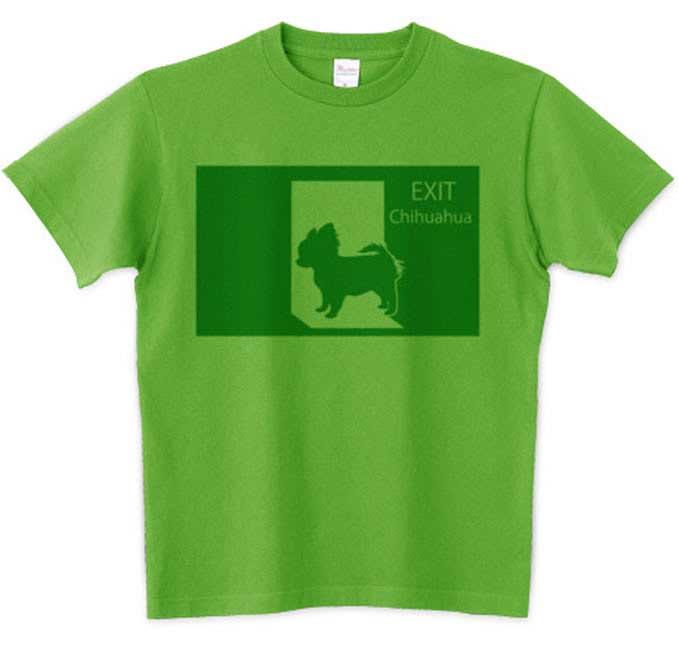 非常口とチワワのシルエットTシャツ