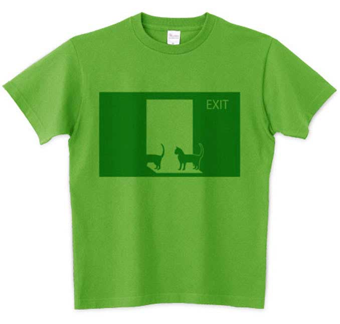 猫の非常口Tシャツ