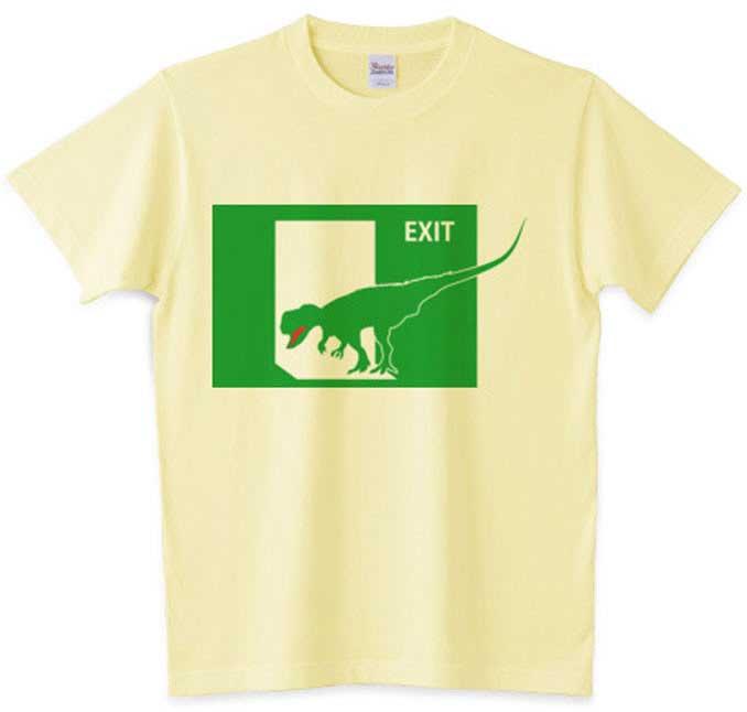 ティラノサウルス恐竜非常口Tシャツ