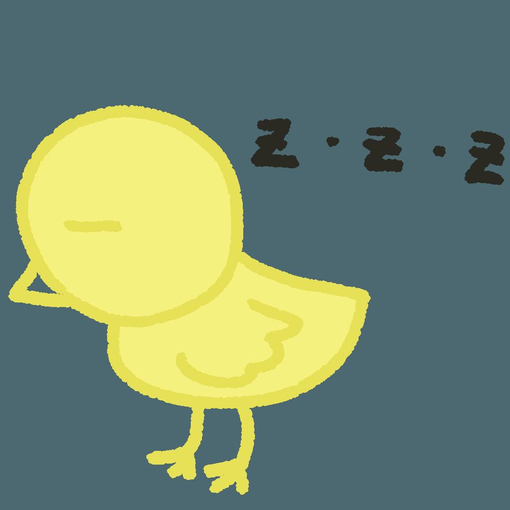 眠るひよこイラスト