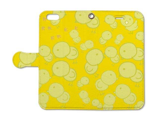 ひよこの大群オピーヌスマホ手帳型ケース(黄色)