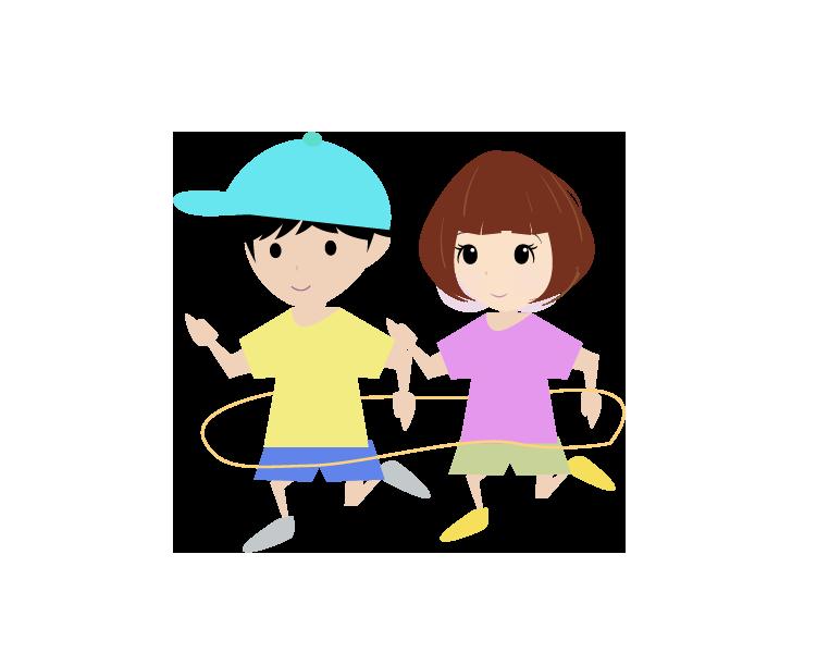 電車ごっこする園児のイラスト
