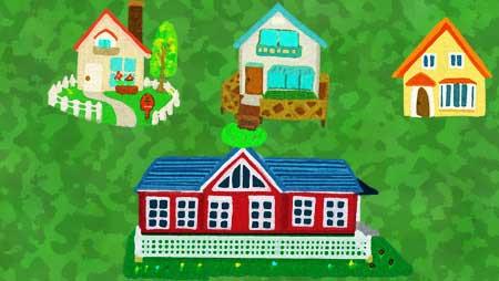 可愛い手描きの家のイラスト