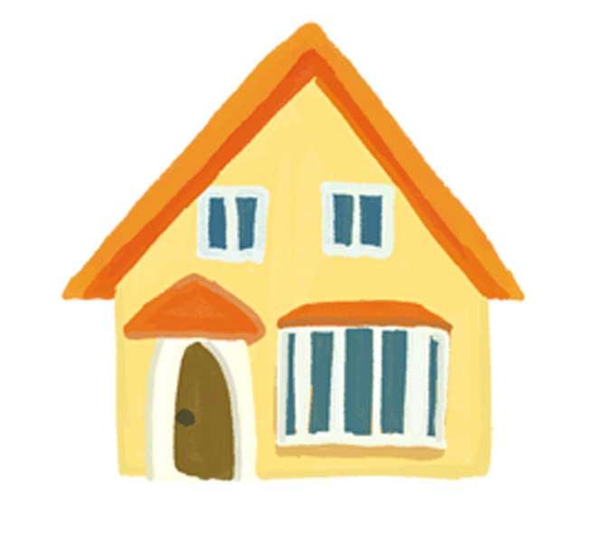 手描きの可愛い家のイラストフリー素材4つセット チコデザ