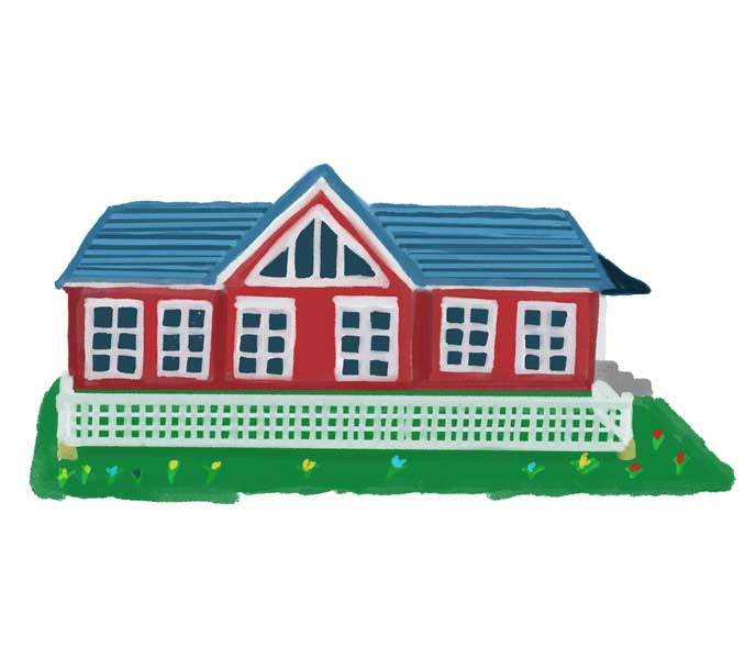 北欧風の家の家のイラスト素材