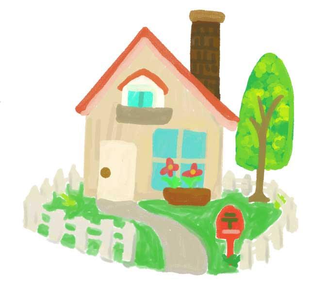 お庭付きの家のイラスト