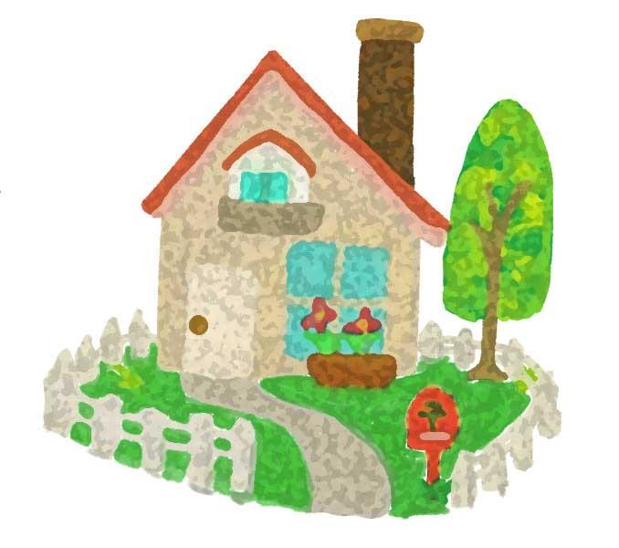 アーティスティック効果を適用した家のイラスト素材