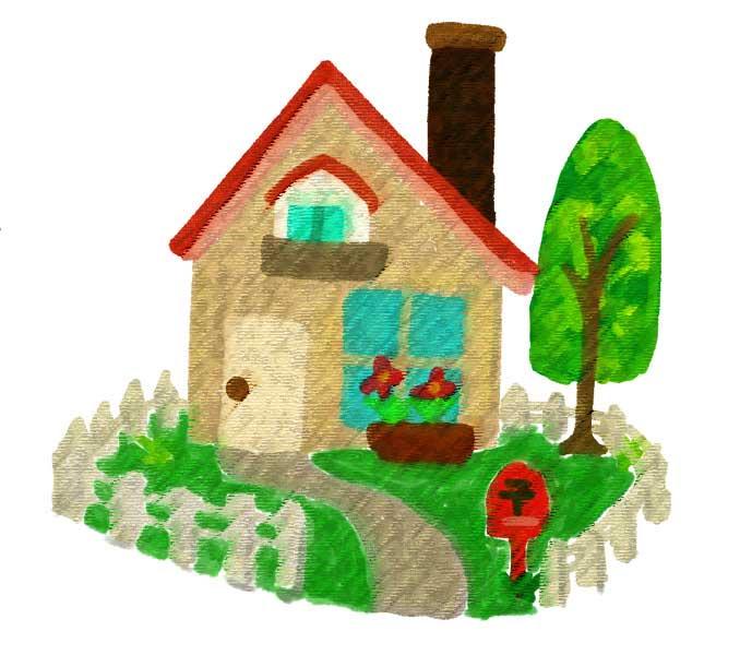 粗いパステル画効果を適用した家のイラスト素材