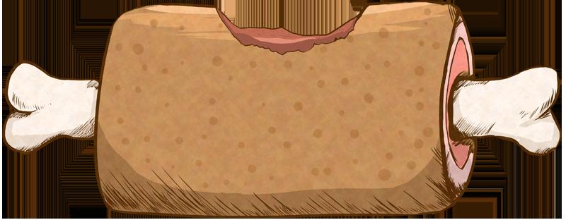 かじった骨付き肉のイラスト