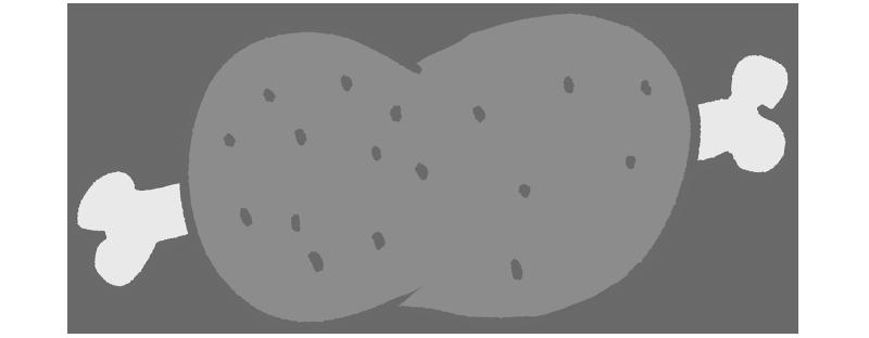 白黒骨付き肉のイラスト