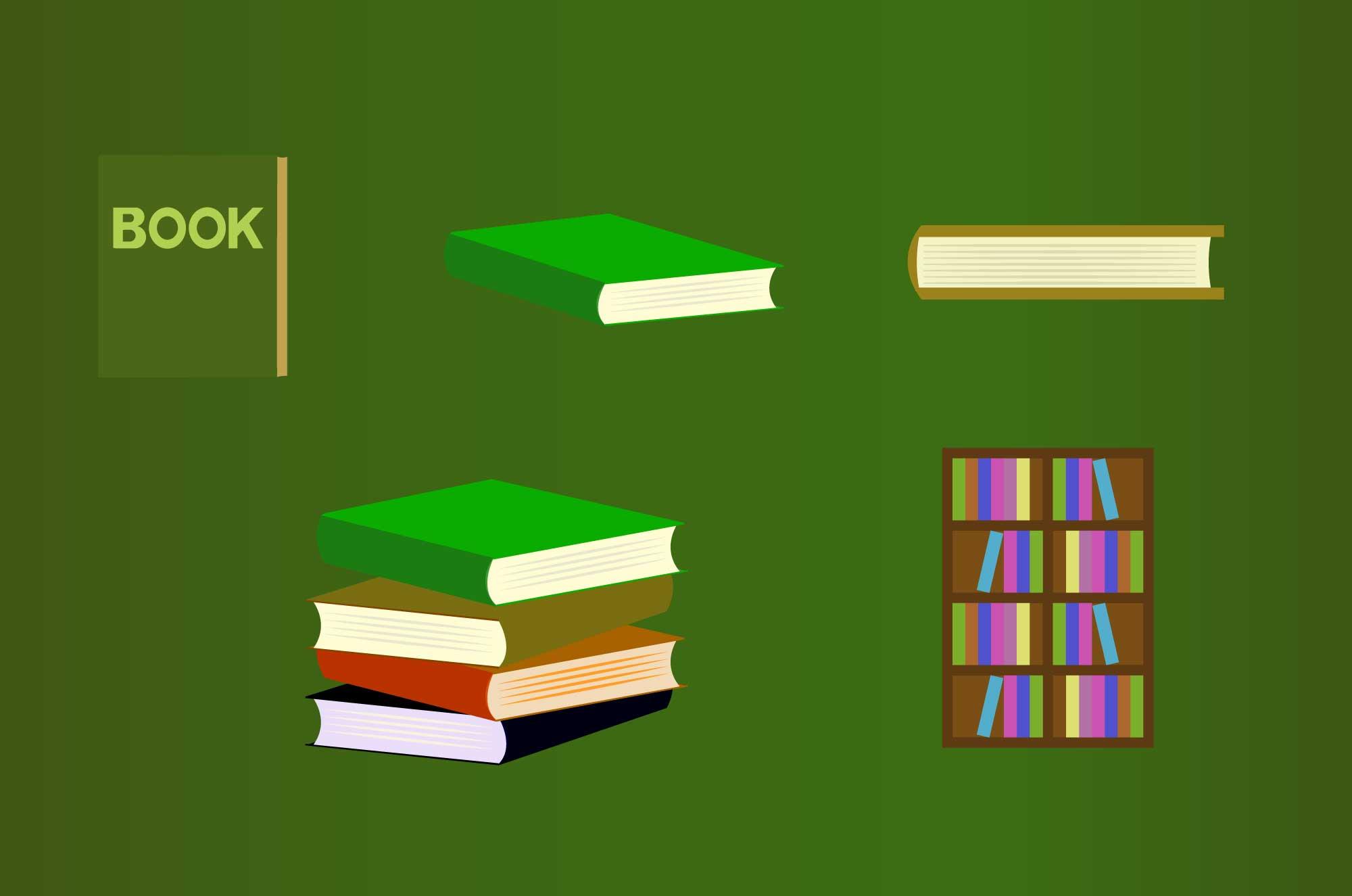 本の無料イラスト - 正面・横・縦、本棚のフリー素材