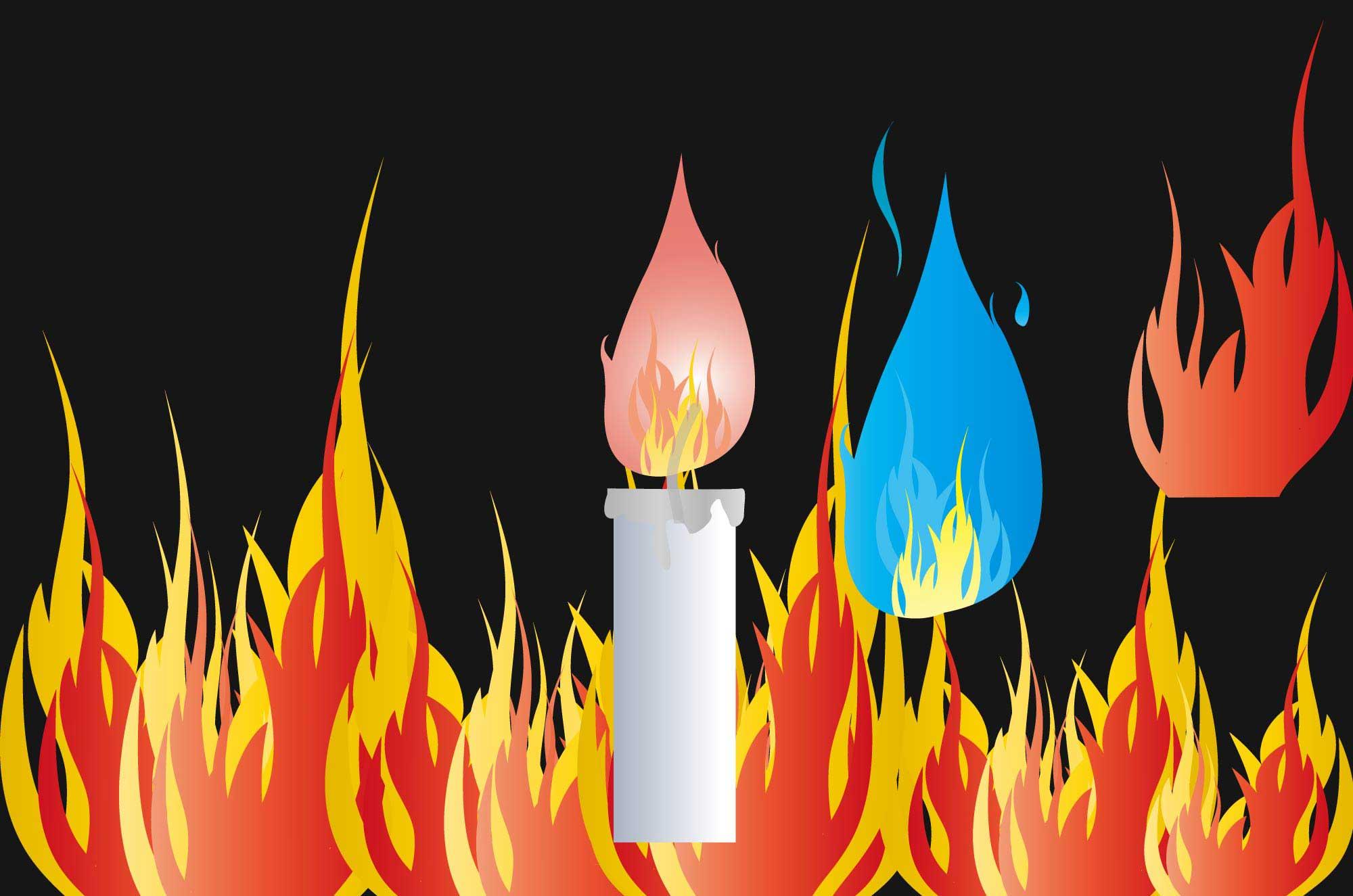 炎イラスト - 燃え盛る灼熱イメージの火の無料素材