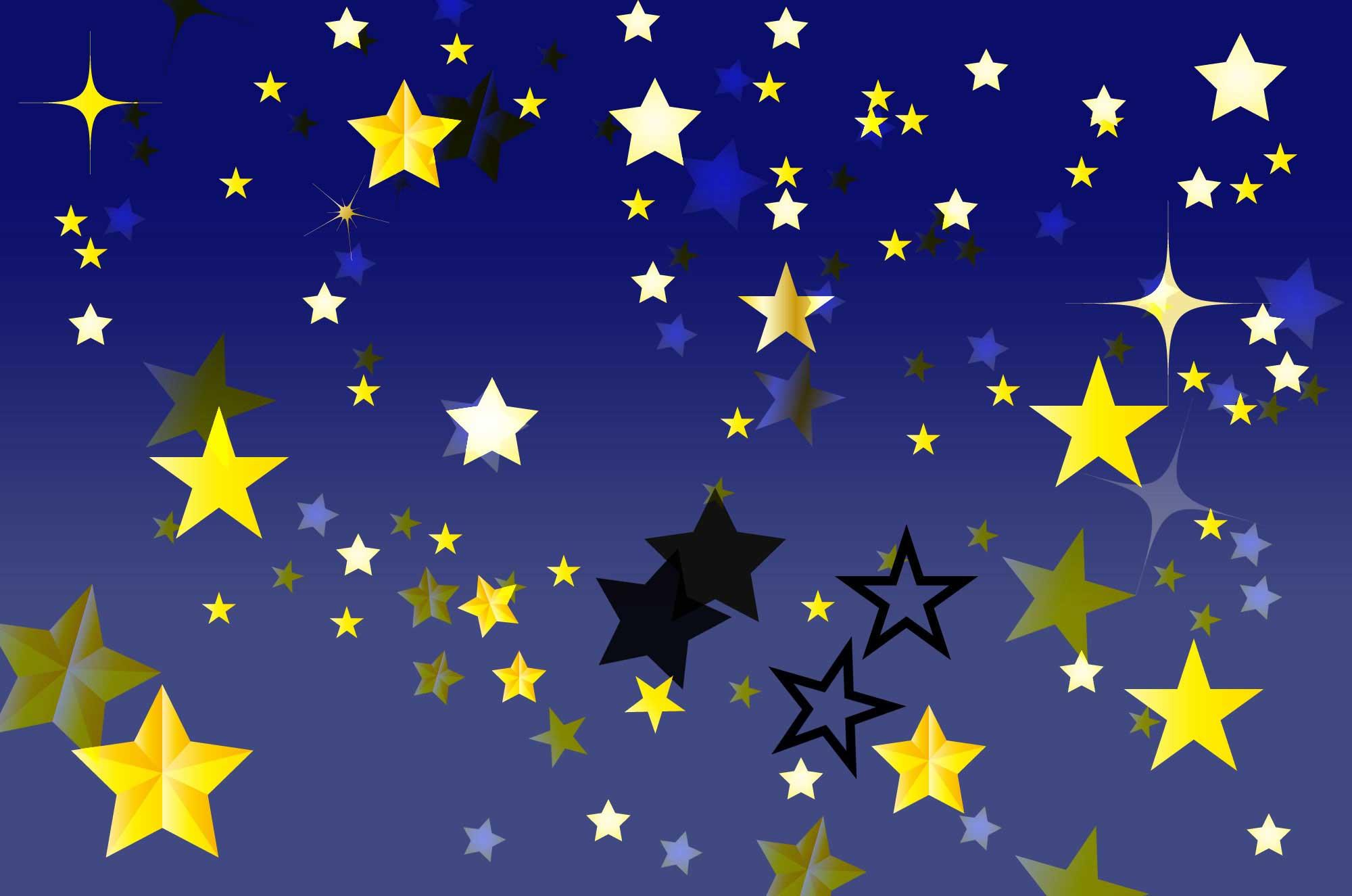 星イラスト , キラキラ光る空の装飾デザイン素材集