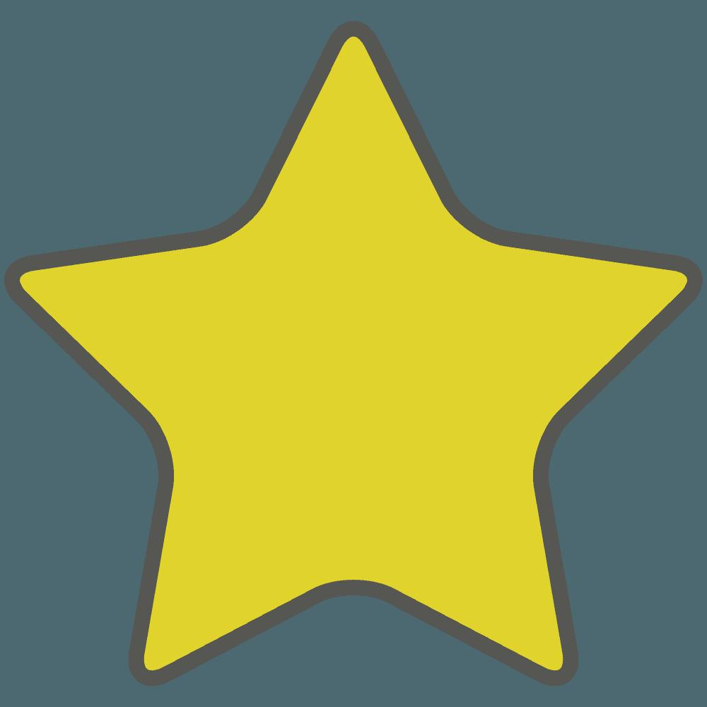 角丸線がある黄色い星イラスト