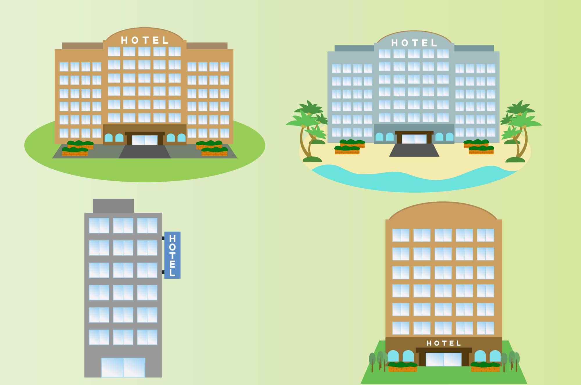 ホテルの無料イラスト , リゾート・ビジネス建物素材 , チコデザ