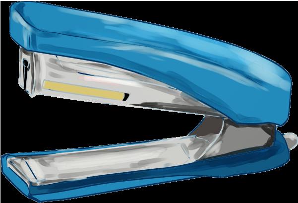 青いホッチキスのイラスト
