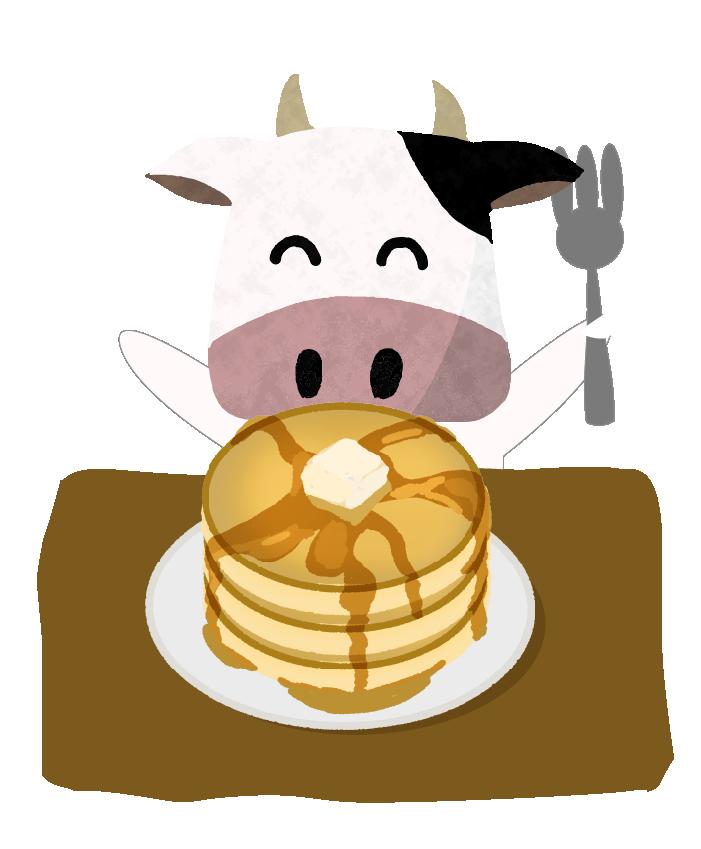 ホットケーキを食べようとしている牛さんのイラスト