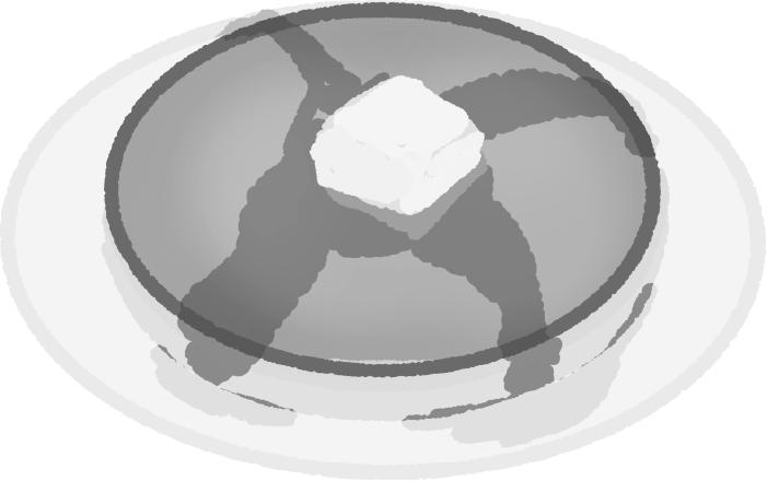 白黒のホットケーキのイラスト
