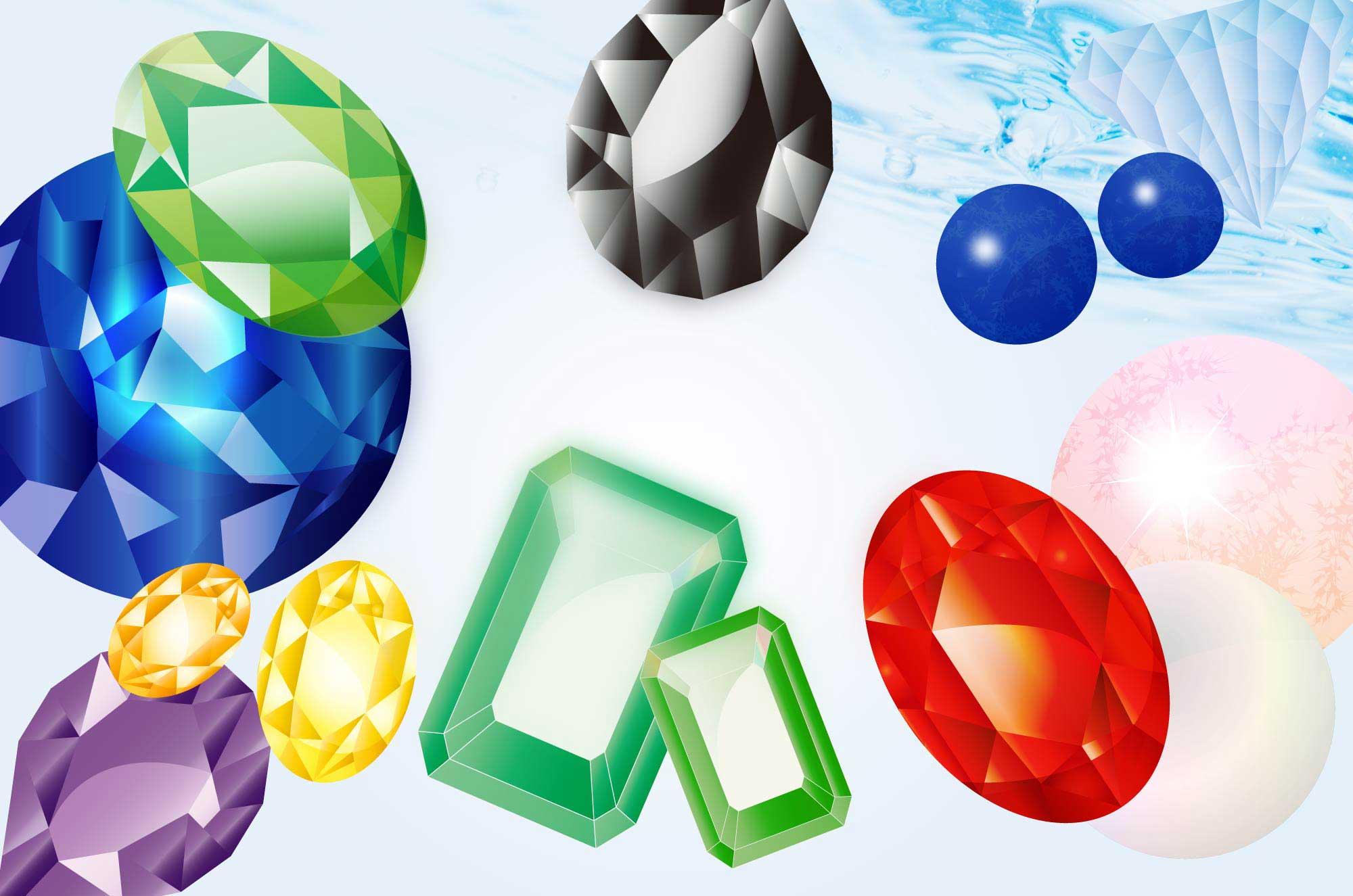 宝石イラスト - 誕生石・綺麗に輝く美しい装飾無料素材集