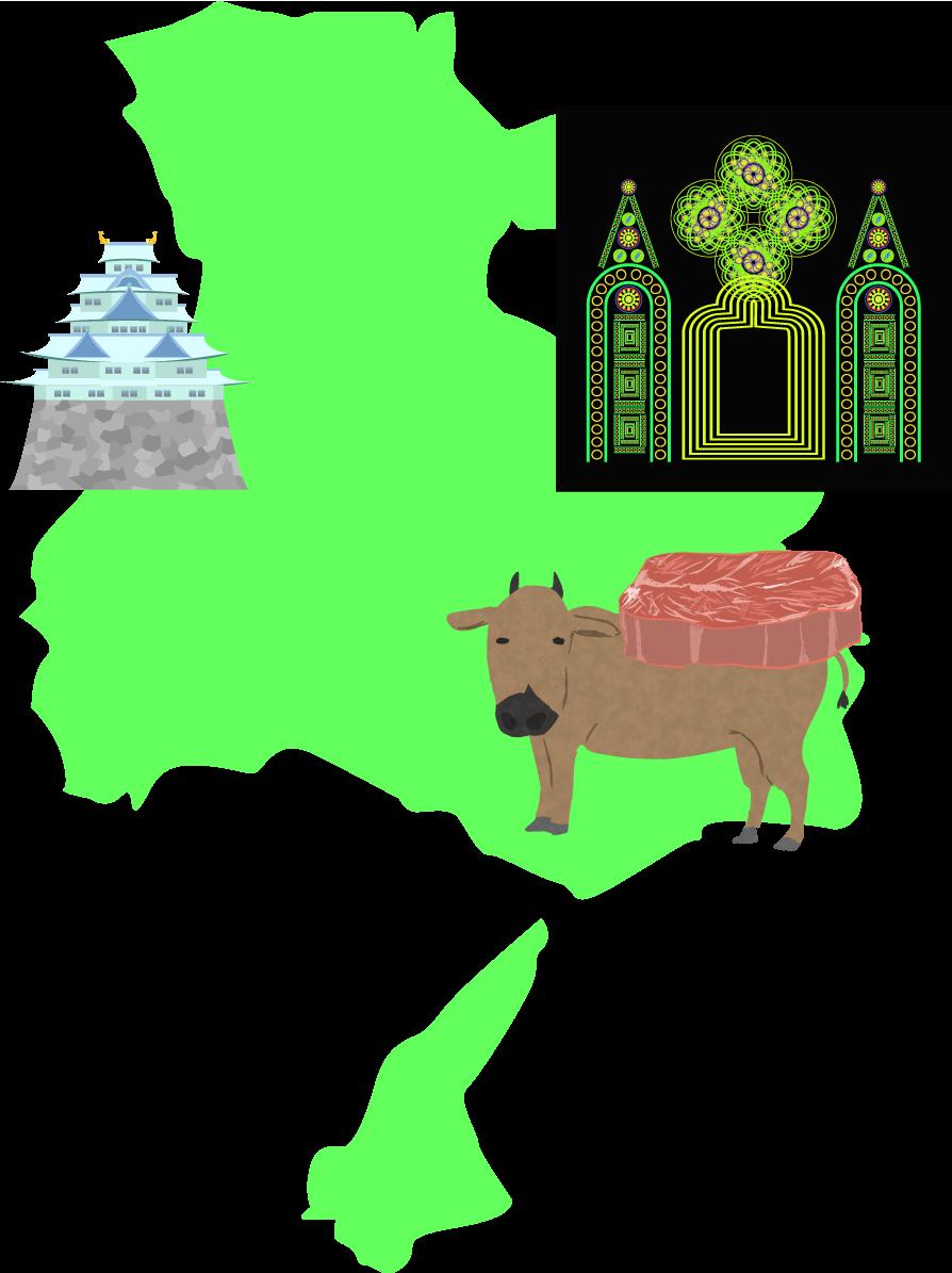 兵庫県のイメージ挿絵(神戸姫路城・ルミナリエ・神戸牛)地域の名産