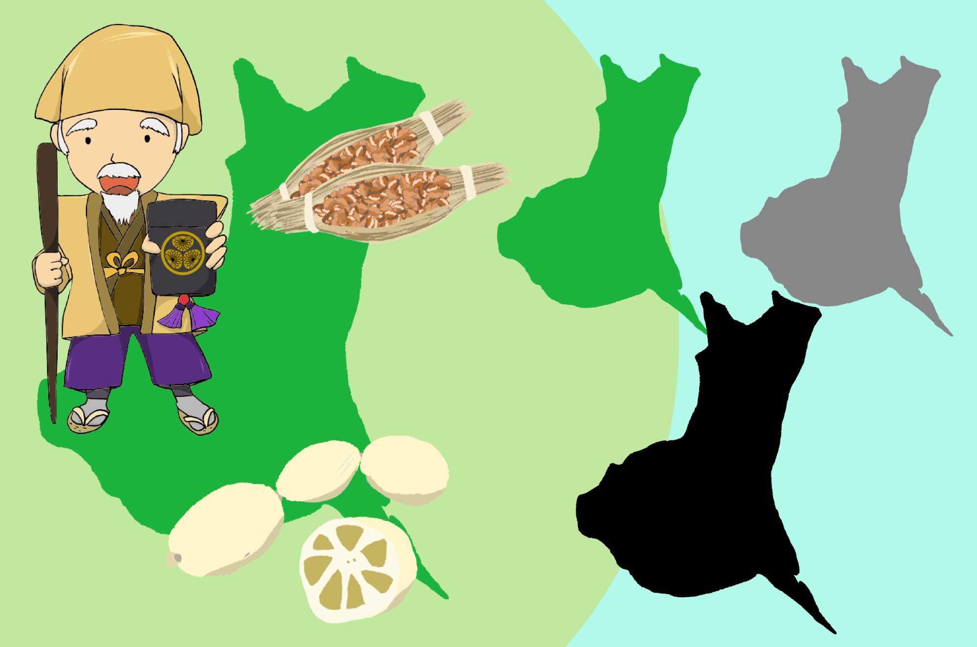 茨城のイラスト - 大陸・水戸納豆・水戸黄門無料素材