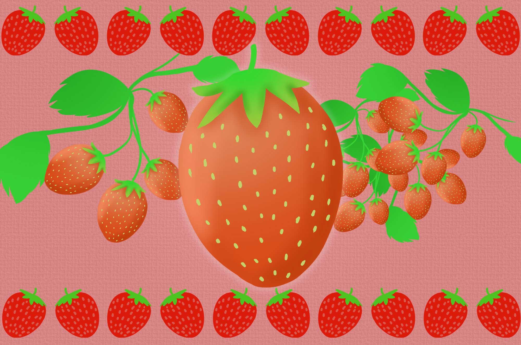 いちごイラスト - かわいいシンプルなフルーツ無料素材