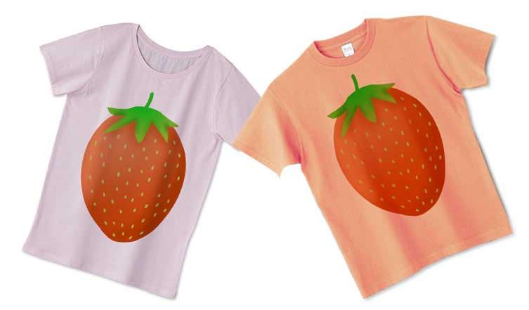可愛いいちごイラストTシャツ
