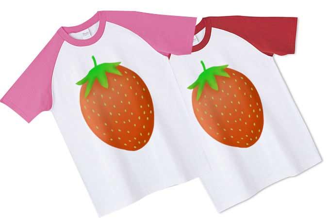 いちごのラグランTシャツ、いちごTシャツ