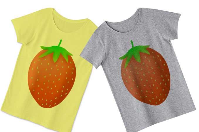 いちごのレディースTシャツ黄色とグレー