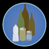 空瓶・空き缶アイコンのイラスト