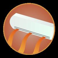 エアコン暖房アイコンイラスト