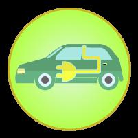 電気自動車アイコンのイラスト
