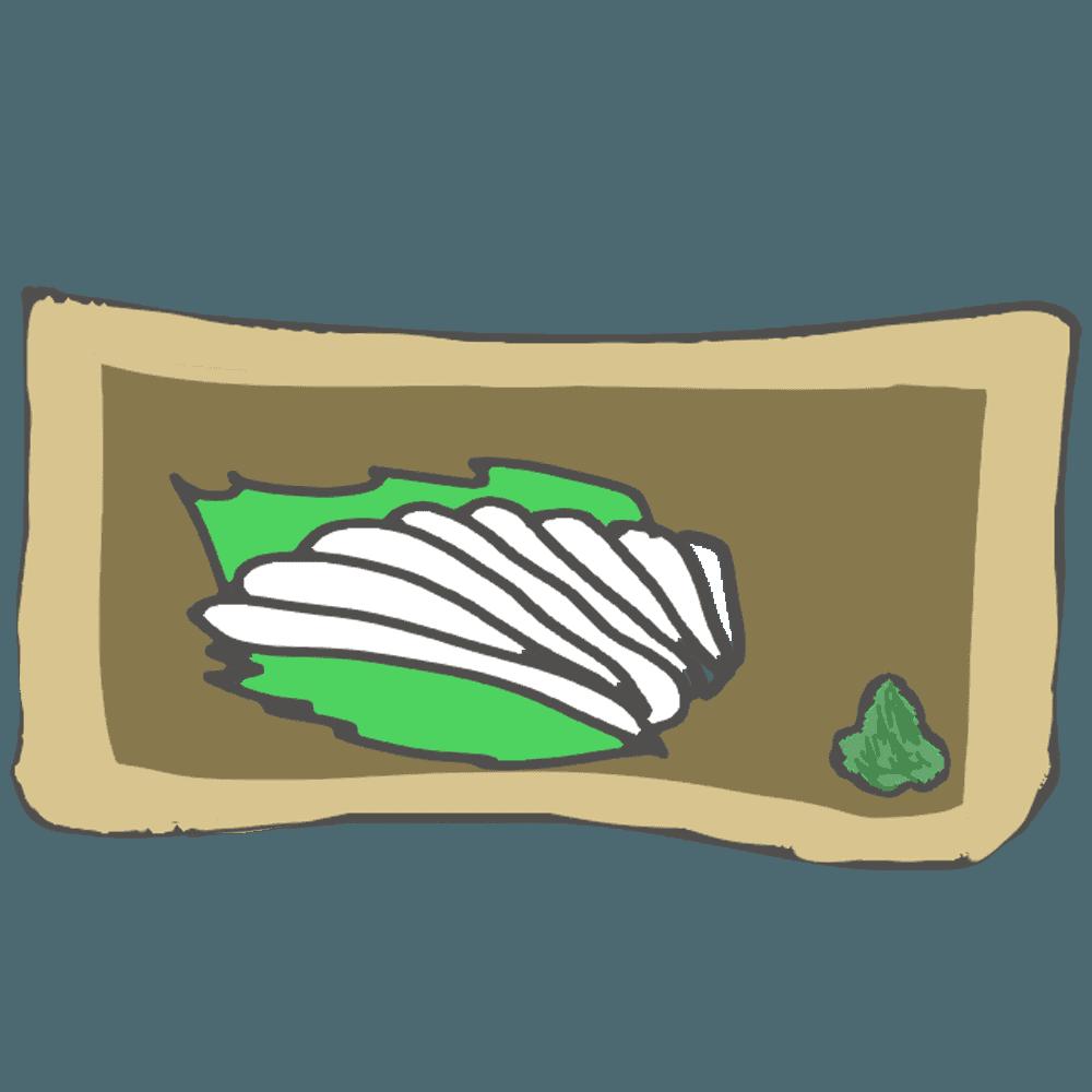 皿に盛り付けたイカ刺しイラスト