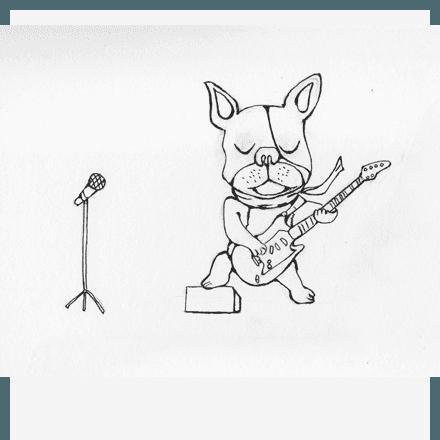 スケッチブックとギターフレンチブルドッグのラフ画